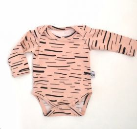 Long Sleeve Bodysuit | Dusty Pink Lines #thomaspie #oliverthomas #babyclothing #baby #babybodysuit #design #designerbaby