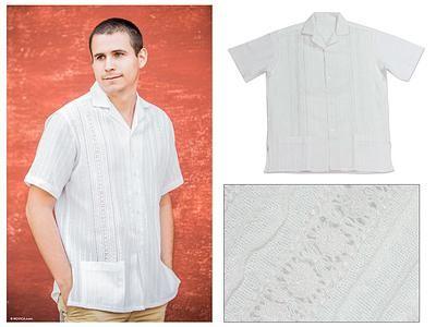 Men's cotton guayabera shirt, 'Metapan Style' - Men's Unique Cotton Shirt from Central America