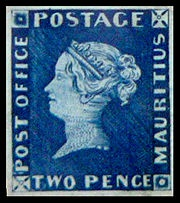 "The Mauritius ""Post Office"" stamps were issued by the British Colony Mauritius in September 1847 and are among the rarest stamps in the world. The stamps came in two denominations: an orange-red one penny (1d) and a deep blue two pence (2d). Their name comes from the wording on the stamps reading ""Post Office"" which was soon changed in the next issue to ""Post Paid."""