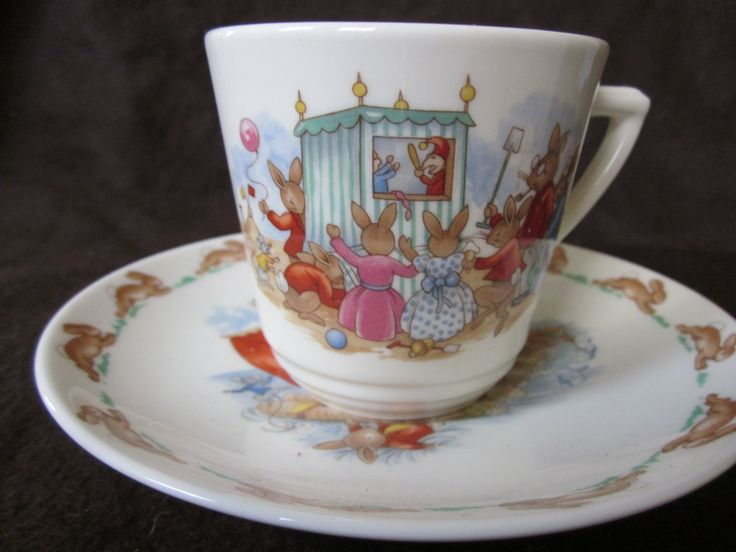 Royal Doulton Bunnykins Seaside Cup And Saucer Set 1936 Bunnykins Collectable Tea cup And Saucer Bunnykins Vintage Tableware & 150 best Bunnykins-Barbara Vernon images on Pinterest | Royal ...