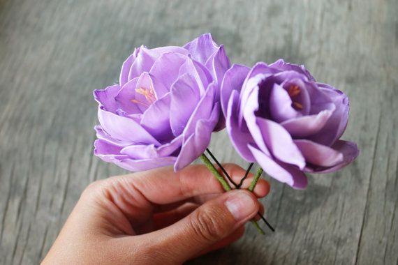 Set of 2 hair pins fabric flowers foam eva peonies by Sweetpinkbox