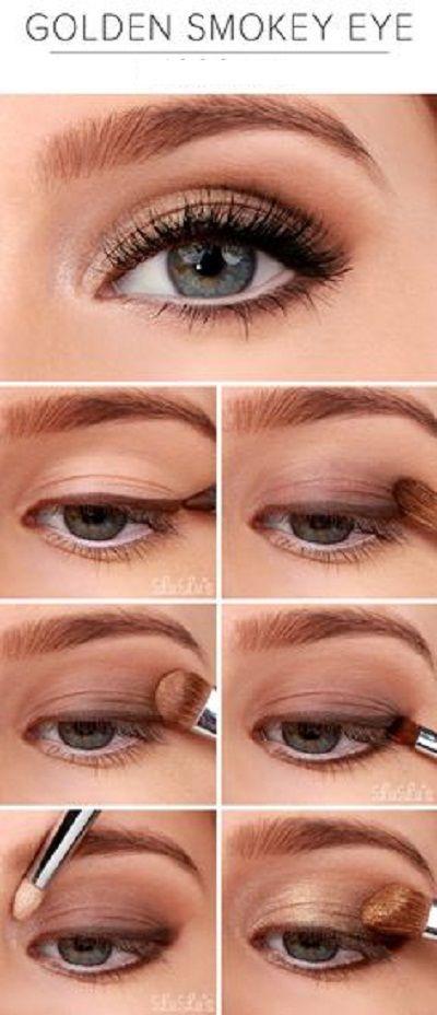 Golden Smokey Eye Tutorial. #smokeyeyes #golden #makeup https://www.facebook.com/shoeduceme