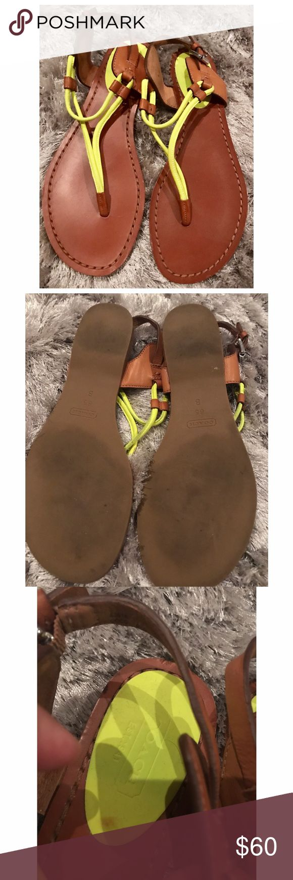 Coach neon sandals sz 6.5 Gorgeous pair of coach sandals in neon green and tan. These run slightly big. 100% authentic. They were used once. There are brown marks on the heel of the shoe however they aren't seen when wearing the shoe. ❤offers welcome! Coach Shoes Sandals