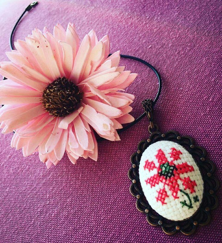 Cross stitch neclace
