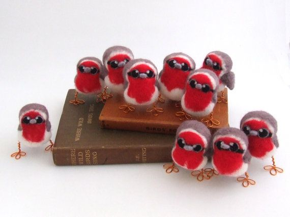 Needle Felted Bird Red Breasted Robin Baby by feltmeupdesigns