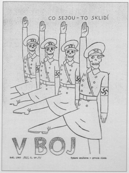 """Title page of resistance magazine named """"V Boj""""."""