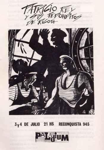 Afiche de las presentaciones de Patricio Rey y sus Redonditos de Ricota en Palladiun del año 1986