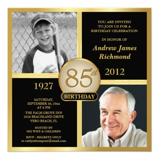 85th Birthday Invitations Then Now Photos