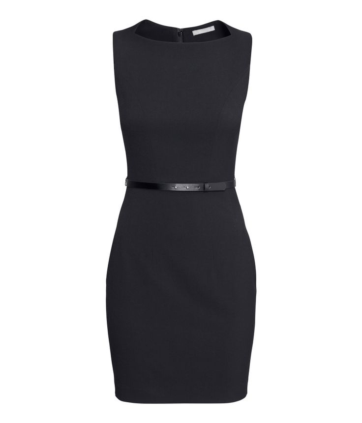 Black fitted sleeveless dress with removable faux leather belt. | H&M Modern Classics