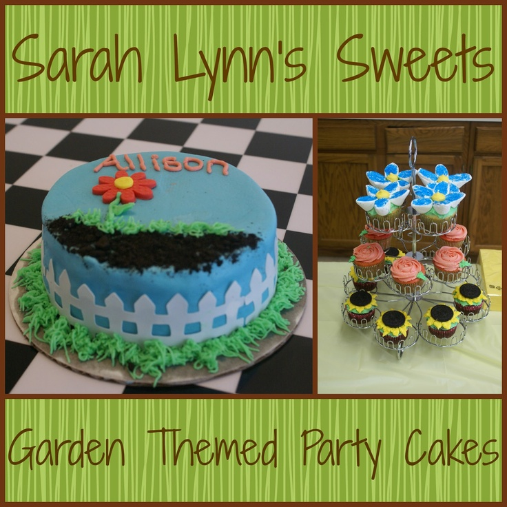 Garden themed smash cake and cupcakes