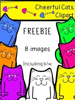 These happy feline friends are ready to play! Freebie includes a colorful sample of the full Cheerful Cat Clipart Set. Images include 7 color and 1 black and white PNG. All images are the creative property of Teacher's Gumbo. May not be re-sold as clipart.