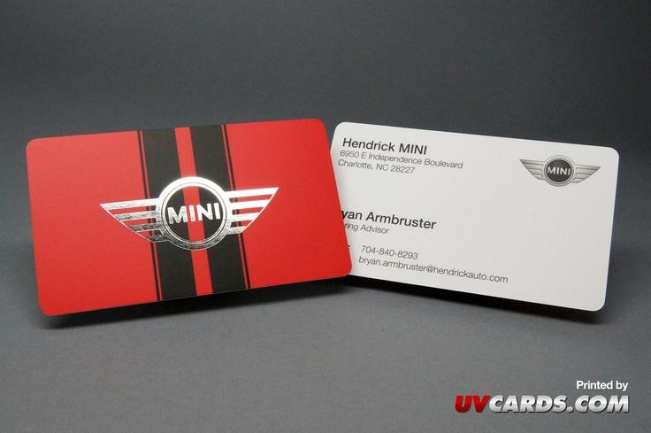 Silk Business Cards with Foil Stamping printed for Hendrick MINI.