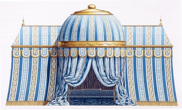 One of the most evocative symbols of summer is the garden tent.In the late eighteenth century, Europeans considered tents the most characteristic of Oriental structures and erected them prolifically in their gardens. As picturesque as they were inexpensive, tents became a staple of Anglo-Chinese folly gardens and a number of them, such as the Tartar Tent at the Parc Monceau in Paris (above) were even constructed of permanent materials. Built circa 1775, it was also the first of its kind…