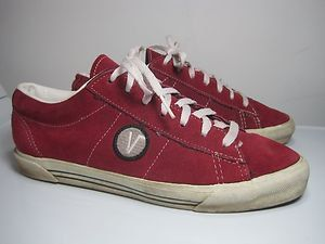 Vintage 80's VANS Red Suede Leather Skater Skateboard Shoes 8.5 USA Rare Style