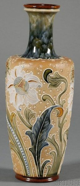 A Doulton Lambeth Florence Roberts Vase, enameled and raised floral decoration to a textured ground, England, circa 1876-1900