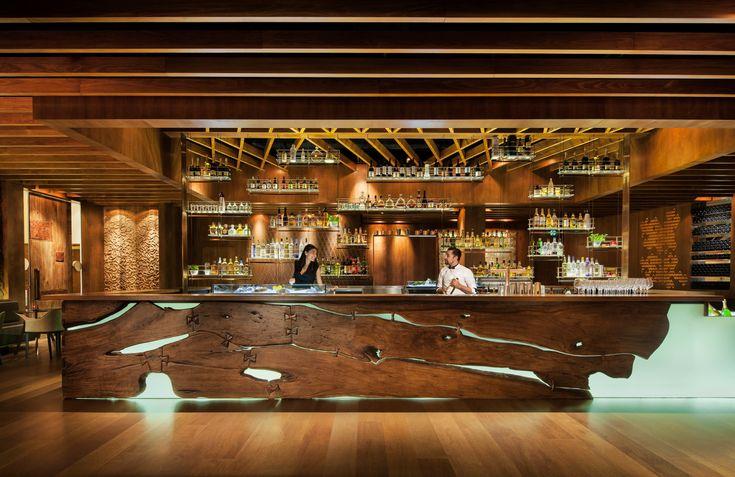 @Mandy Dewey Seasons Hotel Sydney's sleek new artisan bar GRAIN features a bar made of recycled 100-year old Queensland timber.