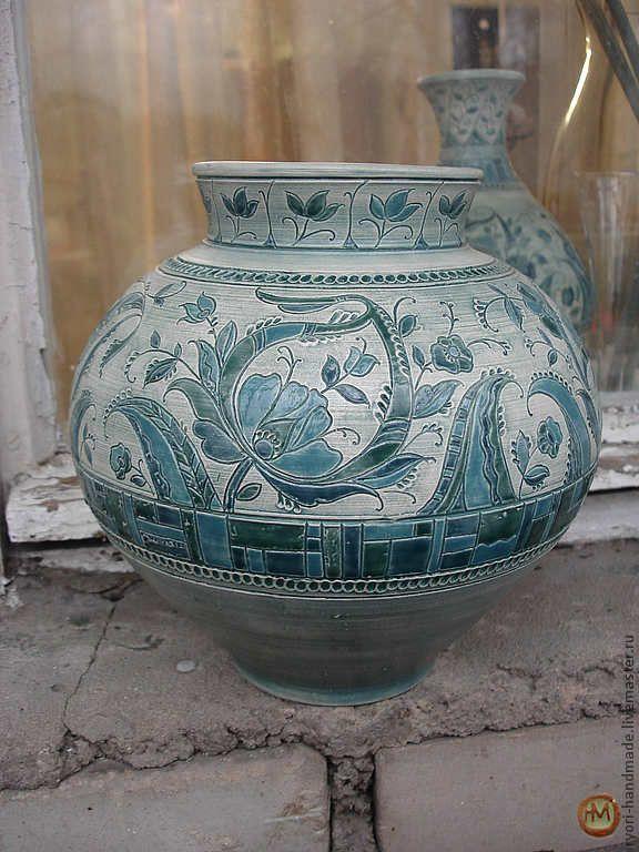 """Купить Ваза """"Голубая флора"""".Керамика - голубой, Керамика, авторская работа, гончарная керамика"""