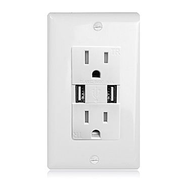 Maxxima Dual USB 3.1A Charger Wall Outlet with 15 Amp Duplex Receptacle (MEW-USB301)