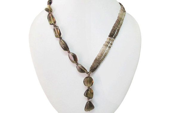 Designer Smoky Quartz beads necklace with Sterling by anushruti