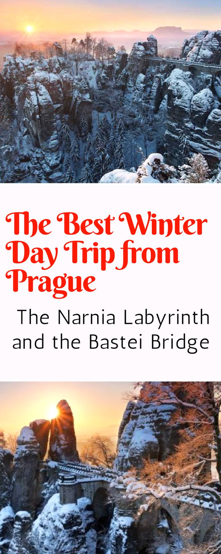 Day Trips From Prague - The best winter walk in the Czech Republic lies just two hours from Prague. See the Narnia Labyrinth and the Bastei Bridge all on one stunning winter walk! Click here for more info!