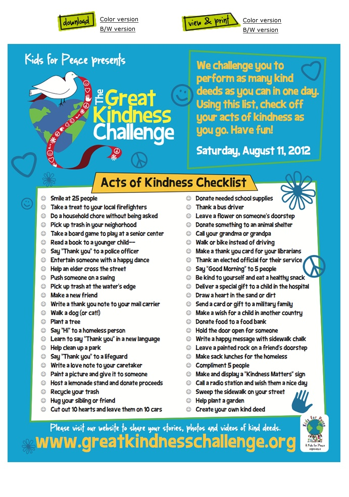 Great Kindness Challenge Pledge - Kids can get their school involved in the Great Kindness Challenge!