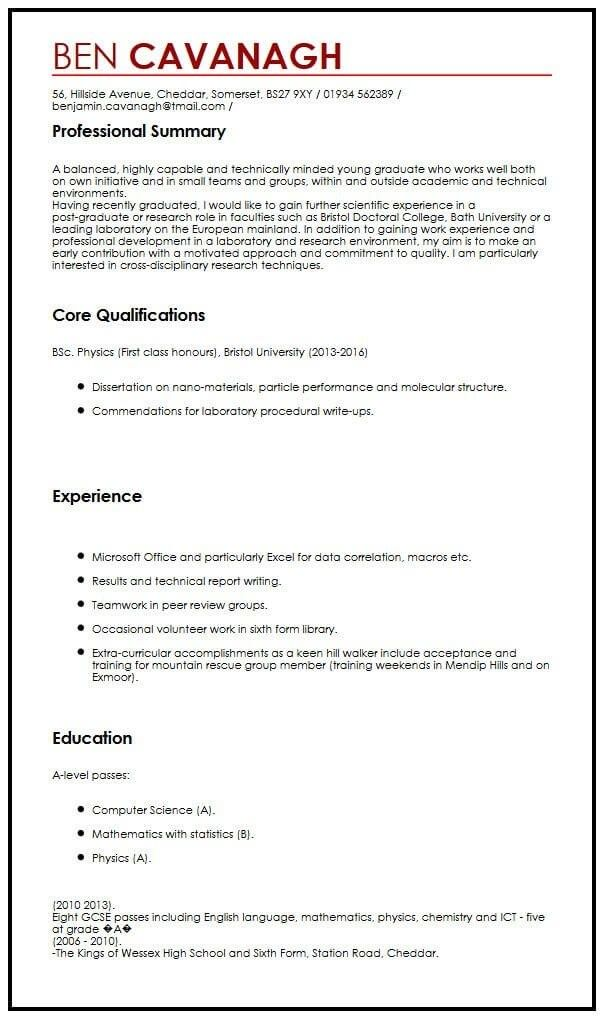Cv Example For Graduate Students Myperfectcv Resume For Graduate School Cv Template Student Job Resume Examples