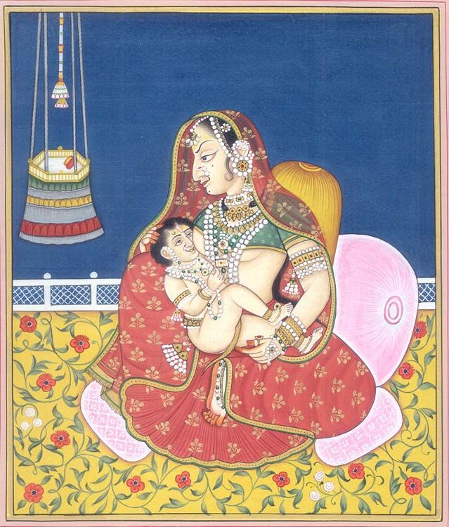 Putana feeding baby Krishna
