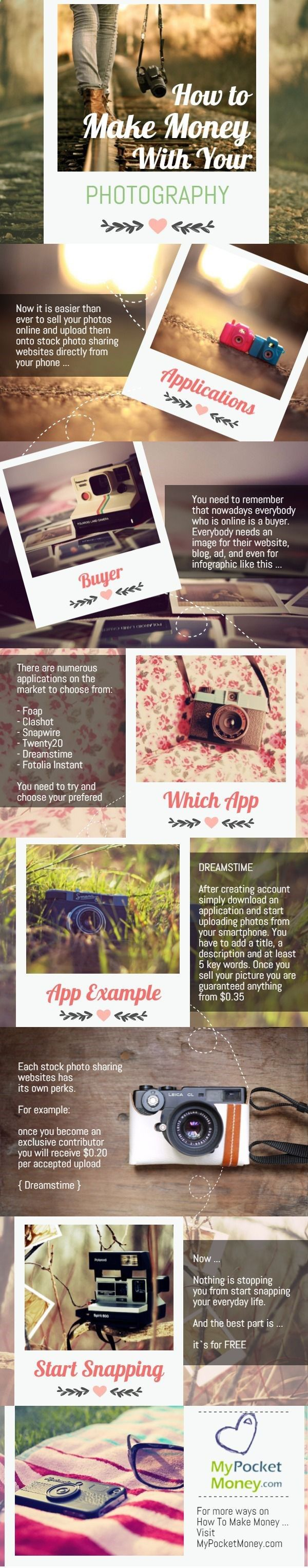 Photography Jobs Online - If you would like to make some quick money on the side with photos you already have in your smartphone then read on :) Visit www.mypocketmoney... for more ideas how to earn money online and get a free lesson. #pocketmoney #earnmoneyonline #mypocketmoney Money Making Ideas, Making Money, #MakingMoney - Photography Jobs Online | Get Paid To Take Photos!