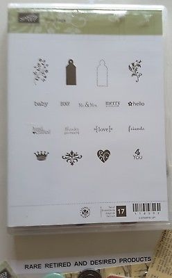 TINY-TAGS-Stampin-039-Up-17-Clearmount-Rubber-Stamps-Retired-Rare-COMPLETE