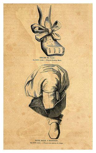 Bota con vuelo de un señor del siglo XVII- Zapato de una dama de la nobleza del siglo XVII,