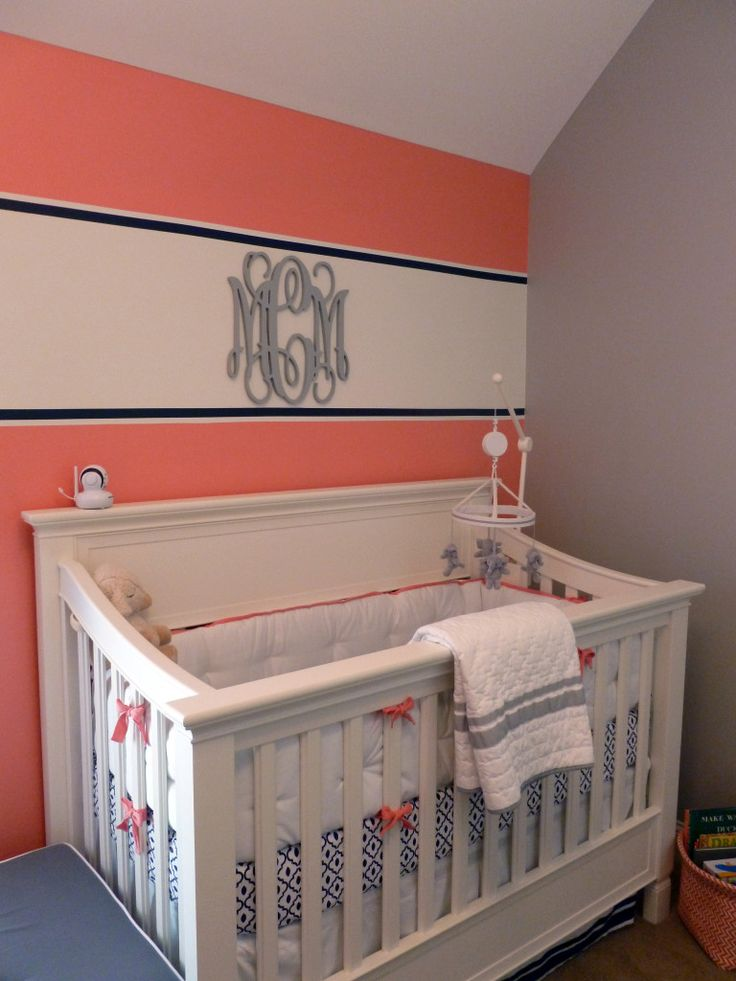 Coral, Navy and Gray Vineyard Vines Inspired Nursery