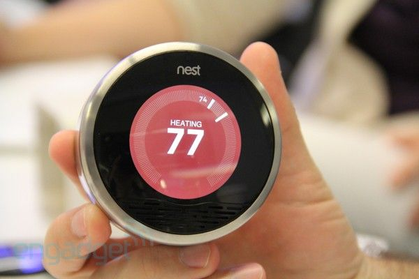 Nest Learning Thermostat- incorporates motion sensors and a learning algorithm to adapt heating and cooling cycles around activity inside the house. Very cool.