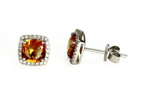 White Gold Citrine & Diamond Earrings 14kt white gold genuine citrine and brilliant cut diamond earrings  Weight: 1.5 grams  Diamond weight: 48=0.16 carat total  Dimensions: 7.8mm x 7.8mm  Check out our earrings here: https://hwilliamsjewelleryshop.com/collections/all-products/products/white-gold-citrine-diamond-earrings