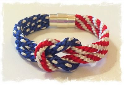Kumihimo 4th of July Square Knot Bracelet Kit    designed by Karen Huntoon /    $12.00 www.whataknit.com Kit includes cord, clasp and pattern. This is a fun and festive bracelet and super easy to make!