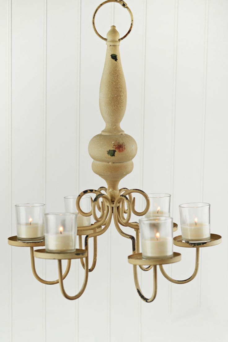 66 best candle chandelier hanging votive tea light holder images a real flea market find this distressed metal and wood chandelier could be used to hold votive candles battery operated candles or even s arubaitofo Image collections