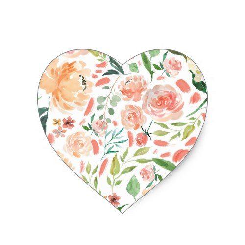 Peach Blush Watercolor Floral Wedding Heart Seal