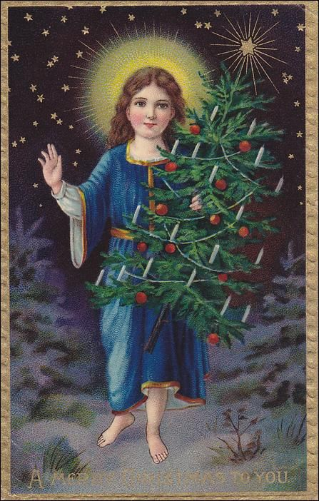 A Merry Christmas to You, Saint holding decorated tree, stars over head, gold border,  PU-1909