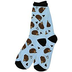 Hedgehog Valentine's DayLove Socks, One Size, Blue