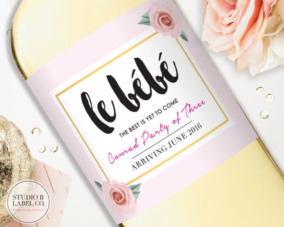 Pregnancy Announcement Wine Label - Baby Shower Champagne Labels - Le bebe - Baby Sprinkle Decorations - Sip and See - Printables