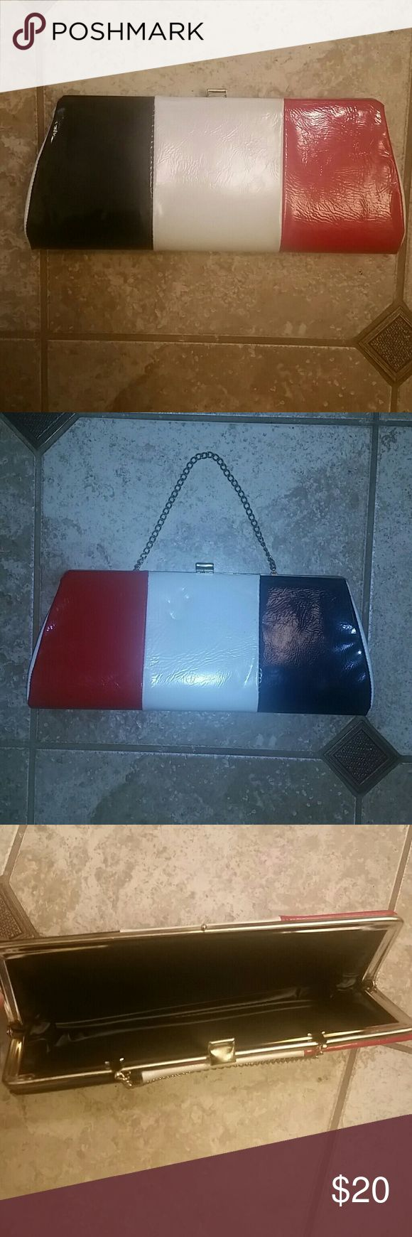 """Patriotic vintage clutch Red, blue (navy), and white clutch.  Patriotic and vintage like. W-11.5"""", H-4.5"""", gold chain strap -10"""", drop strap-4.5"""".  Clean and excellent condition! Bags Clutches & Wristlets"""