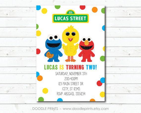 Sesame Street Invitation Elmo Big Bird Cookie by doodleprints