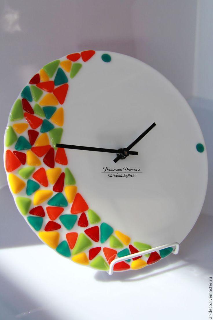 """Glass clock, fusign / Купить Часы """"Фруктовый фрэш"""" в технике фьюзинг, 26 см - оранжевый, желтый, салатовый"""