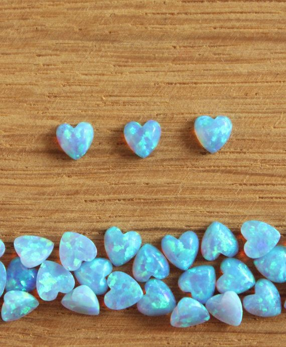 Natural Ethiopian Opal heart cabochon, loose blue opal cabochon 4X4mm Opal 4mm heart Shape Loose Gemstone