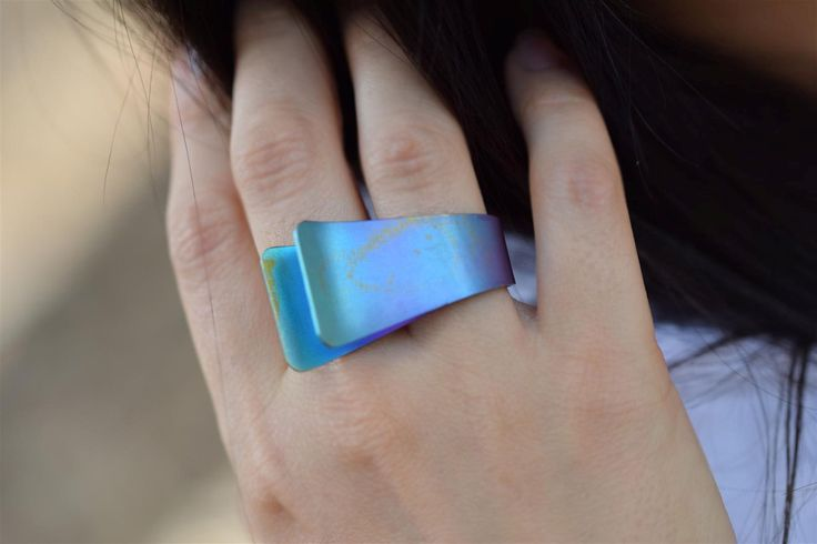 Anodized Titanium Ring, Statement Ring, Unique Ring, Teal Ring, Tribal Ring, Tribal Jewelry,Ethnic Jewellery, Giampouras Collections - pinned by pin4etsy.com