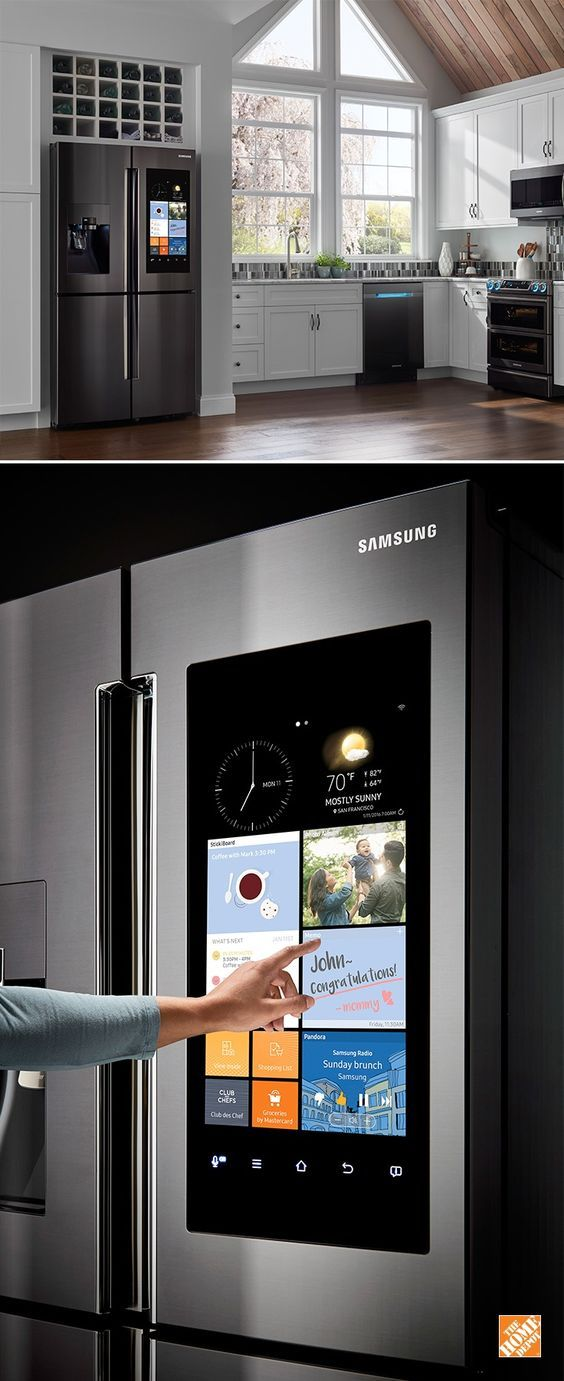 """Make the kitchen the center of your home. Samsung's Family Hub™ Refrigerator helps you manage your home and your life, with 3 Built-in cameras for food management, plus direct grocery ordering, share multiple calendars, photos and notes and Stream music, videos, mirror your TV – all controlled from a 21.5"""" Wi-Fi enabled touchscreen on a beautiful 4-door refrigerator. #homegear"""