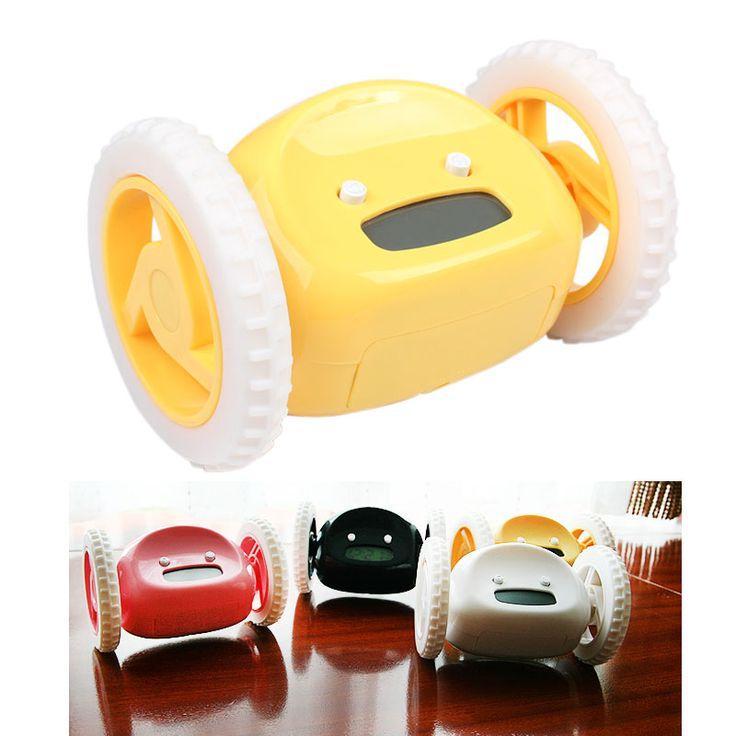 НОВЫЙ Дизайн Runaway Clocky ЖК Дисплей Запуск Будильник С Движущимися Колесами E2shopping купить на AliExpress