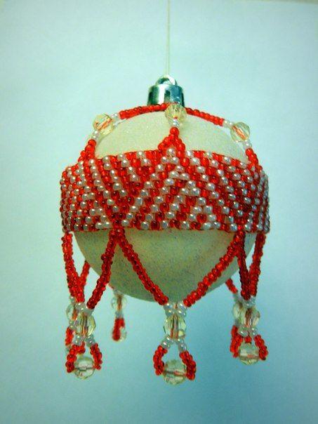 """Сеточка на шар """"Красный узор"""""""