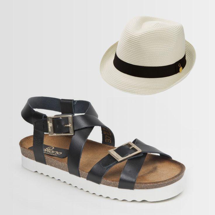 Te presentamos este #sombrero blanco y negro que combina a la perfección con estas #sandalias #yokono. #Comodidad y #estilo van de la mano.