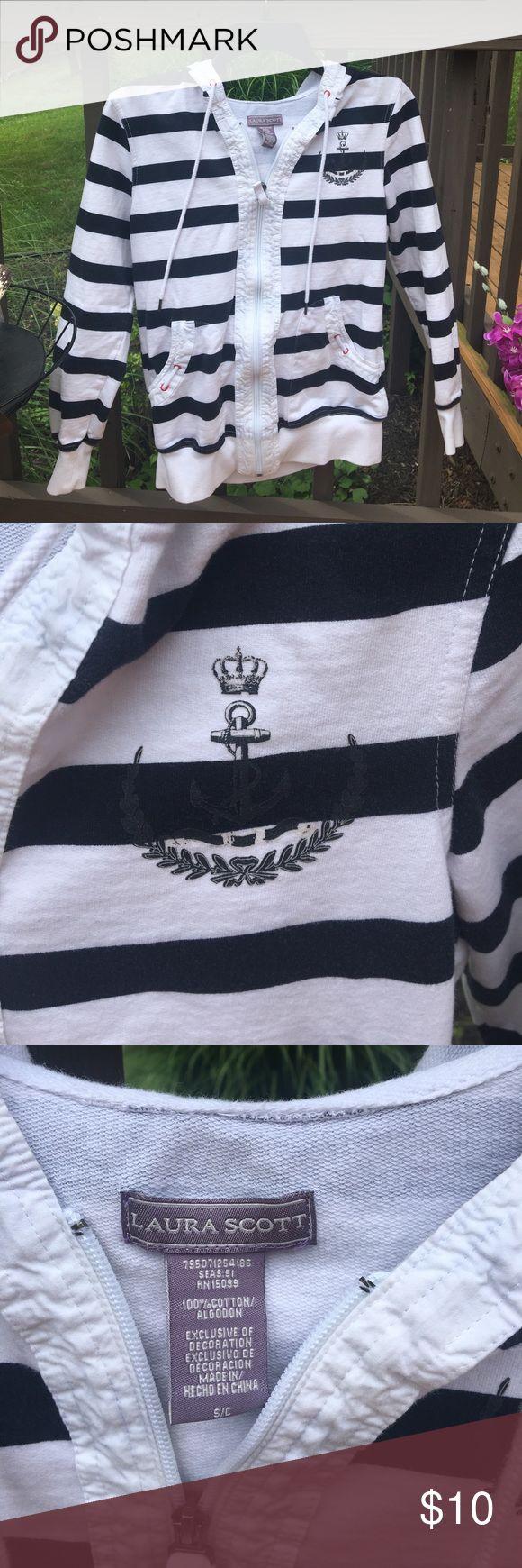 Nautical zip up Adorable and very detailed nautical zip up Laura Scott Tops