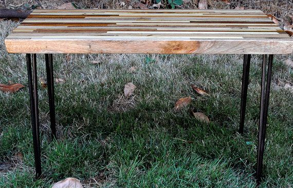 Laminated exotic wood side table, butcher block table top, handmade W/ steel hairpin legs,